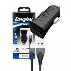 شارژر فندکی فست Energizer Ultimate DC1Q3UC23 QC3.0 + کابل Type-C