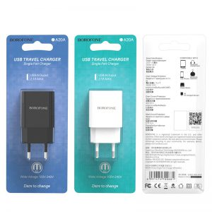 کلگی شارژر Borofone BA20A Sharp 1Port 2.1A EU Plug